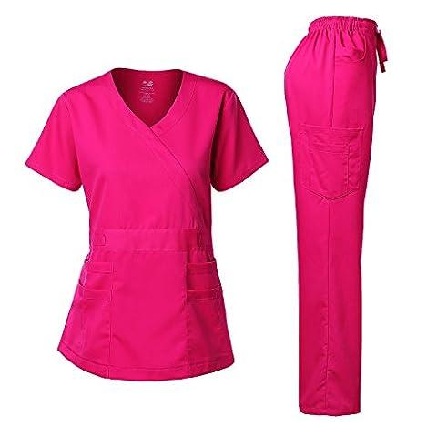 Women's Scrubs Set Stretch Ultra Soft Y-Neck Wrap Top and Pants Hot Pink L - Hot Pink Scrub Pants