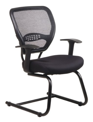 Office Star Space Collection Black Mesh Guest Chair with Air Grid Back and Black Frame ()