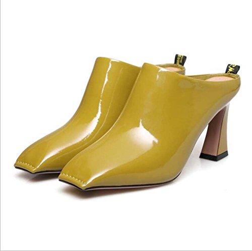Negro De Dos Sandalias Tamaño Zapato Desgaste One Cuadrado color Alto 34 blanco Shoe 39 amarillo Mujer Albaricoque Amarillo Para Tacón wqzPAnqdg