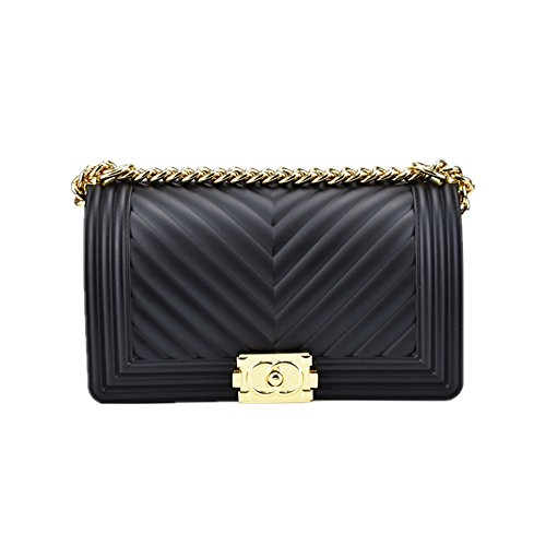 Classic Silicon Quilted Crossbody Bag Luxury Shoulder Handbags Purses For Womens Girls (V Black M)