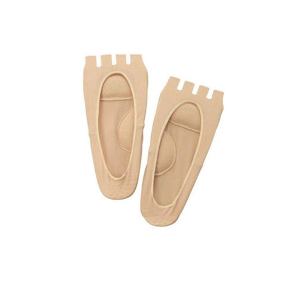 1 Pair Half Toe Grip Arch Support Compression Socks Plantar Fasciitis Heel Pain Foot Relief Massager (Beige)