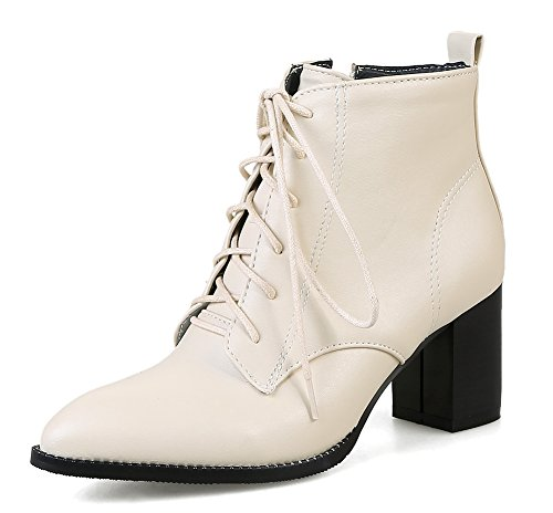 Femme Chunky Bout Pointu Mode Bottines Cheville Beige Aisun AxwOq
