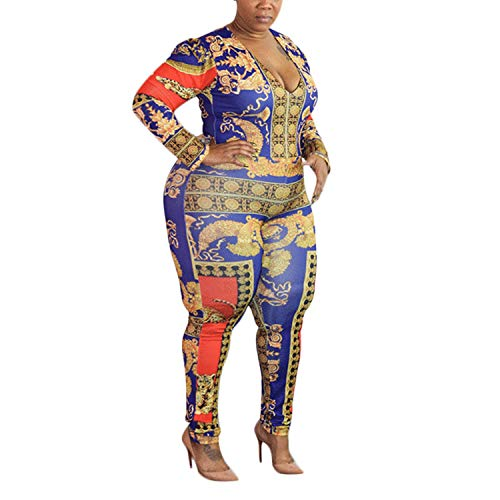 (Sexy Floral Tiger Print Bodycon Jumpsuit Stretch Pants One Piece Outfits Red XL)