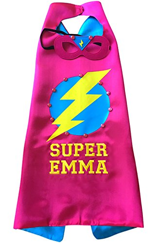 Thimbleful Threads Personalized Lightning Bolt Superhero Cape and Mask Set by (Pink)