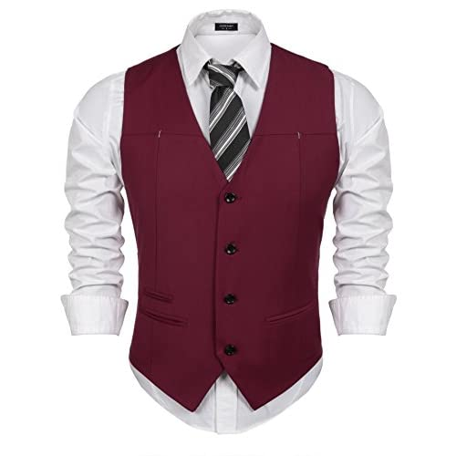 Nice etuoji Mens Casual Slim Fit Dress Vest With 3 Pockets for cheap