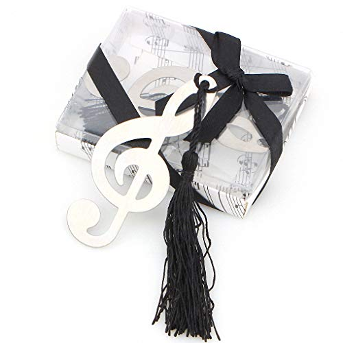 Akanbou Musical Notes Bookmarks Cute Metal Bookmarks with Silk Tassel and Greeting Cards Cool Book Marker Wedding,Birthday,Graduation, Party Favors Gift Boxed-8 Pack in Bulk