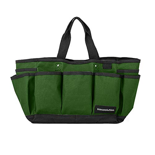 (Housolution Gardening Tote Bag, Deluxe Garden Tool Storage Bag and Home Organizer with Pockets, Wear-Resistant & Reusable, 14 Inch, Dark Green)