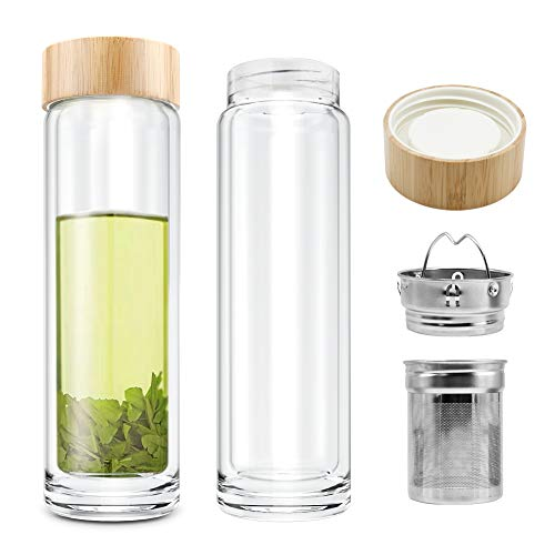 COMI Double Wall Glass Borosilicate Bamboo Lid Water Bottle with Infuser & Strainer 400ml/14oz ...
