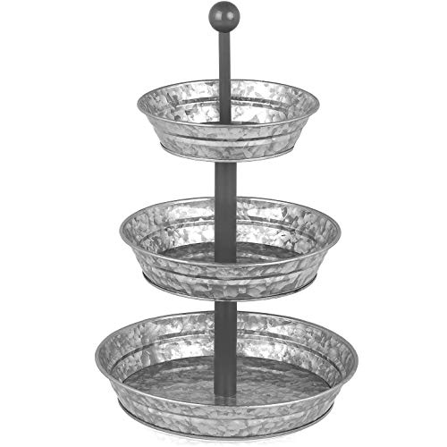 3 Tier Serving Tray - Galvanized, Rustic Metal Stand. Dessert, Cupcake, Fruit & Party Three Tiered Platter. Country Farmhouse Vintage Decor for the Kitchen, Home, Farm & Outdoor by Hallops]()