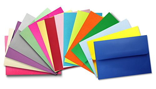"Assorted Multi Color (50 Boxed) A2 Envelopes for 4-1/8"" X 5-1/2"" Response Cards, Invitations Announcements - Astrobrights & More from The Envelope Gallery"