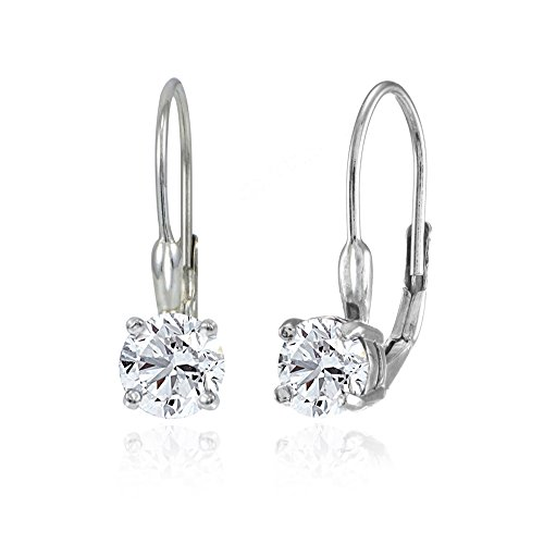 (Sterling Silver Created White Sapphire 6mm Round Leverback Earrings)