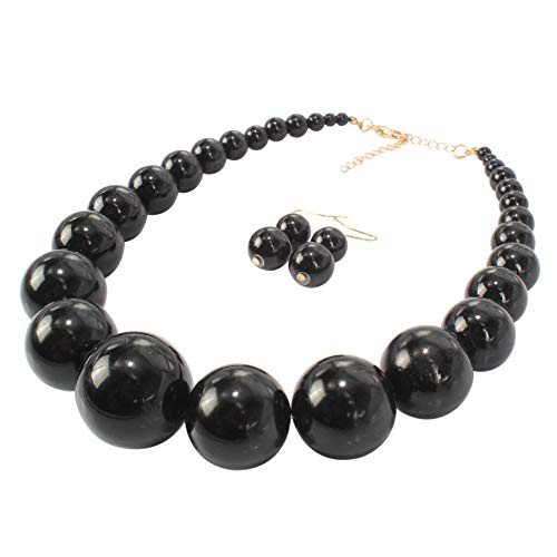 HaHaGirl Big Faux Pearl Strands Necklace Large Black Beads Fashion Costume Women Jewelry