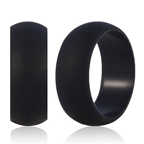 Workers' Favorite Silicone Wedding Ring - The Only Wedding Ring You Can Wear on the Job - Top Quality Safe 9mm Biocompatible Rubber Wedding Band for Men by BC Bands (Black, Size 11)