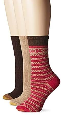 Gold Toe Women's Ted Fairisle Nordic Winter Fashion Crew Sock, Brown Heather/Winter Khaki/Brown, 9-11 (Pack of 3)
