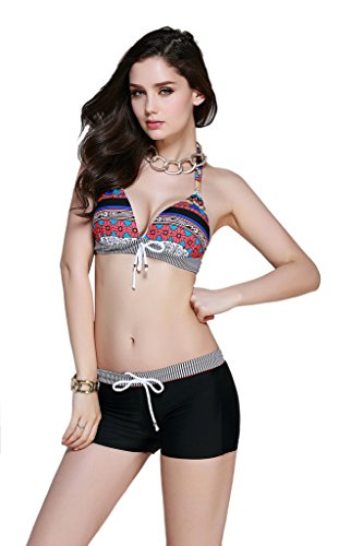 Bathing Suit, Abary Women Halter Bohemia Bikini Set with Boy Shorts Red 46(US 8-10)