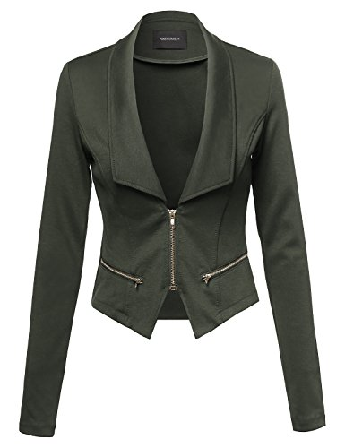 Detail Cropped Jacket - Cropped Fashion Blazer Jacket With Zipper Details Olive Size S