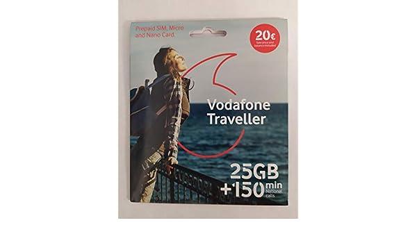 Vodafone Traveller - Tarjeta SIM 25GB, 150min Nacionales y ...