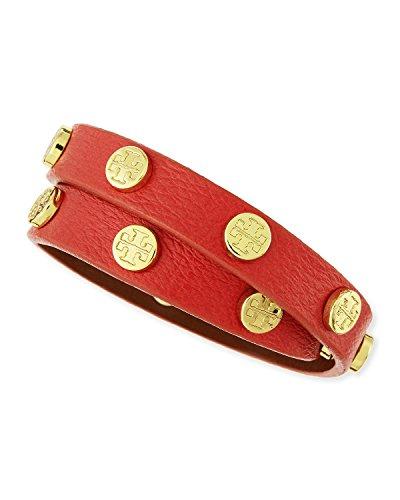 Tory Burch Leather Double Wrap Stud Bracelet (Poppy Red Gold)