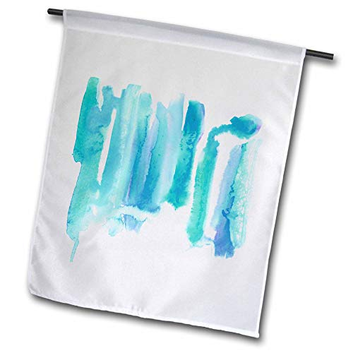 3dRose Becky Nimoy Stationery - Art - Original abstract watercolor painting in teal turquoise blue colorway - 18 x 27 inch Garden Flag (fl_289198_2)