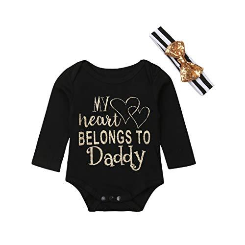 (Daddy's Little Princess Infant Bodysuit & Headband Set Cotton Romper Baby Girl One Piece (0-3 Months, My Heart Belongs to Daddy-Long Sleeve))