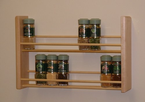 Wood Spice Rack For Wall Best Amazon Spice Rack Two Tier Natural MADE IN USA Wooden Spice
