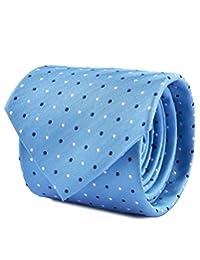Corbata Napoli Amalfi De Seda Con Diseño De Puntos En Contraste Azul Cielo Unitalla
