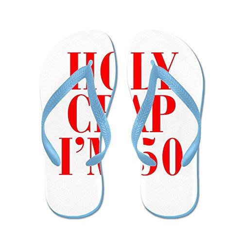 Cafepress Holy Crap Im 50 - Flip Flops, Roliga Rem Sandaler, Strand Sandaler Caribbean Blue