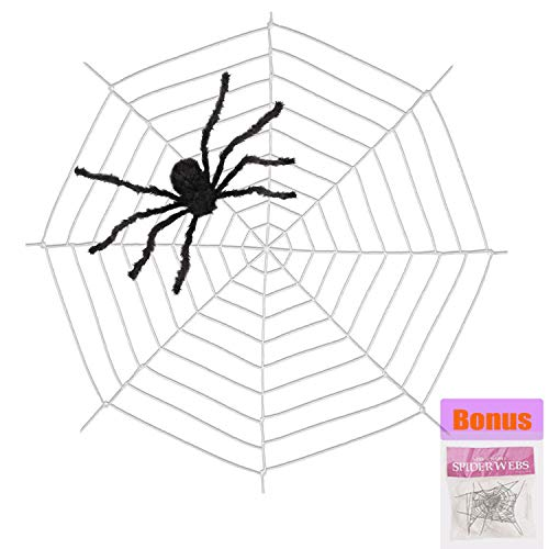 Jiaqee 9 Feet Giant Spider Web - Halloween Decoration Spider Web with Super Stretch Cobweb Set for Outdoor Yard, Round Dia, White]()