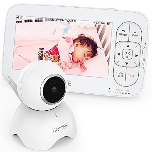 Video-Baby-Monitor-HOMIEE-Baby-Monitor-with-Camera-and-Audio-720P-5-HD-Display-Night-Vision-Lullabies-Two-Way-Audio-Talk-Sound-Alarm-One-Click-Zoom-Ideal-for-New-Moms