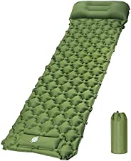Camping Sleeping Pad Mat with Air Pillow Lightweight Waterproof Inflatable Lounger Bed for Camping Traveling H