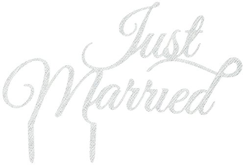 Ginger Ray Pastel Perfection Just Married Wedding Sparkling Cake Topper, Silver