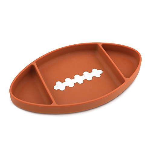 Bumkins Silicone Grip Dish, Suction Plate, Divided Plate, Baby Toddler Plate, BPA Free, Microwave Dishwasher Safe - Football