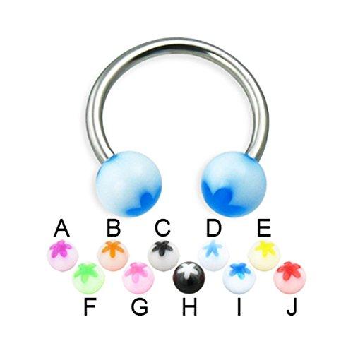 (MsPiercing Titanium Circular Barbell With Acrylic Flower Balls, 14 Ga, Ball Size:5/16