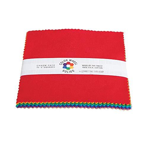 - Connecting Threads Color Wheel Premium Precut Fabric Bundle (True Rainbow Charm Squares)