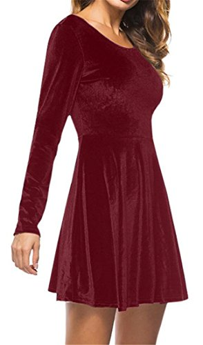 Midi Velour Cromoncent Backless Party Pleated Long Red Dress Sleeve Womens Swing w7P6qRU