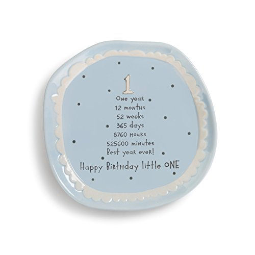 Baby's First Happy Birthday Little One Blue 7 x 7 Stoneware Cake Plate