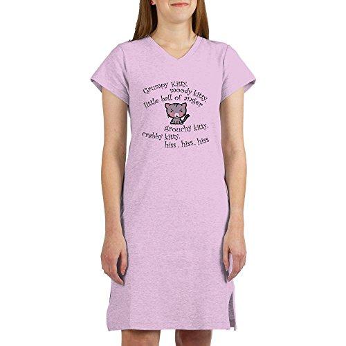 CafePress Grumpy Kitty Women's Nightshirt Women's Nightshirt, Soft Long Pajama Shirt, Cotton PJs/Pyjamas Pink