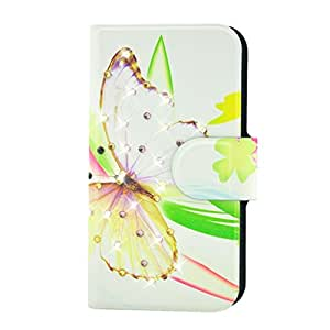 Generic Rhinestone Big Yellow Butterfly Design Card Slot Magnetic PU Leather Flip Case Cover Compatible For HTC Desire 826W 826