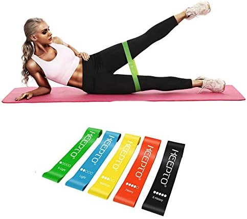KEEPTO Resistance Loop Bands, Latex Elastic Exercise Bands with Instruction Guide and Carry Bag, Set of five