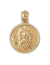 14K Yellow Gold Saint Christopher Pendant Necklace - 22 mm