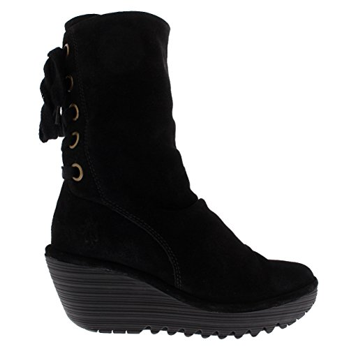 Womens Fly London Yada Wedge Heel Oil Suede Black Winter Mid Calf Boots - Black - 5 by FLY London (Image #5)