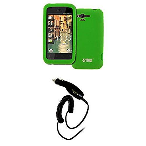 EMPIRE Verizon HTC Rhyme Vert Fluo Silicone Skin Case Étui Coque Cover Couverture + Voiture Chargeur (CLA)
