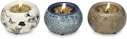 Up Words by Pavilion Blue and Brown Mini Tea Light Candle Holders, Set of 3, Each 2-1/2-Inch Long, Tea Light Candles Included (Mosaic Tealight Holder)