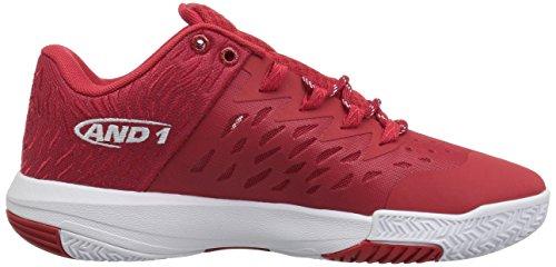 And1 Mens Vallen Lage Basketbalschoen Chinees Rood / Super Folie / Wit