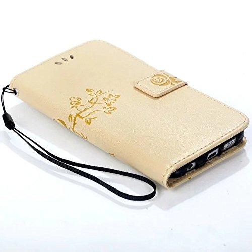 JIALUN-Personality teléfono shell Samsung S6, funda de cuero de la caja del folio de la PU Shell con ranuras para tarjetas de efectivo cubierta de la caja del patrón de flores de relieve magnético en  Gold