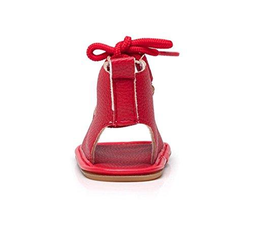 IGEMY Kinder Baby Casual Sandalen Verband Kreuz-gebunden Sohle Krippe Hohl Kinder Schuhe Rot