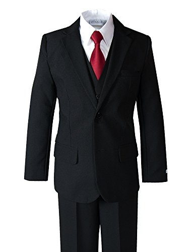 Spring Notion Big Boys' Modern Fit Dress Suit Set 5 Black w/Red ()