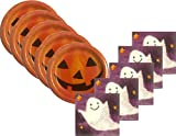 Ghost and Friends Halloween Bulk Party Supply Bundle - Plates and Napkins for 96