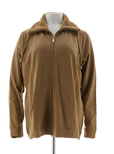 (Quacker Factory Sparkle Jacket Sherpa Collar Bronze L New A270649)