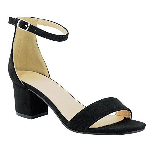 Women's Heeled Sandals Ankle Strap Chunky Block Low Heel Strappy Stacked Fashion Summer Party Dress Shoes JN08 Black 10